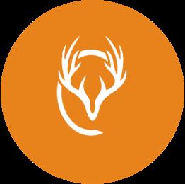 Stag logo in orange circle